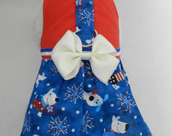 Custom July 4th Patriotic Firework Pups Harness Dress with Bow. Perfect for your Cat, Dog or Ferret.