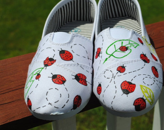 New Lady Bug Design on White Slip on,  Custom Hand painted shoe size 8  - SOLD