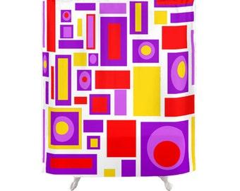 purple shower curtain geometric shower curtain mid century modern shower curtain modern shower