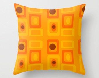 Modern Pillow Cover, Orange  Pillow Cover, MidCentury Modern  Pillow Cover Retro Pillow Cover, Decorative Pillow Cover, Mod Pillow Cover,