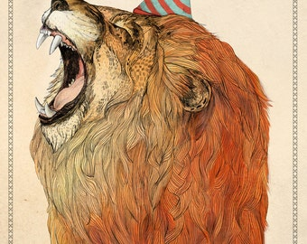 Birthday Lion // Signed A3 print