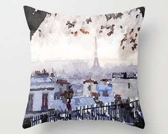 Paris on a Rainy Day Watercolor Print Pillow Cover. This painting has a lovely mix of grays and blues and looks gorgeous printed onto pillow