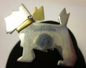 Modernist Vintage Sterling Silver Scottie Dog Brooch