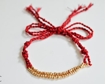 ON SALE Red and Gold Cord Bracelet