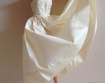 Lovely Ivory Barbie Doll Size Strapless Gown