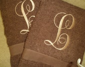 Set of two Bath Towels & two hand towels  with 7 inch and 4 inch monograms