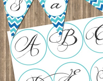 INSTANT DOWNLOAD Blue Printable Letters for Banners on 8x11 300 dpi Sheet