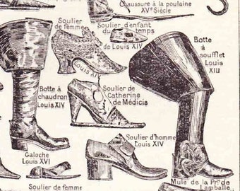 Beautiful Antique Print Encylopedia Page 1930s Engraved Ilustrations Boots Shoes paper projects scrapbooking, collage