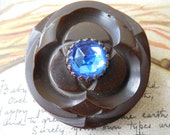Carved Brown Bakelite Coat Button w/ Faceted Blue Jewel Center