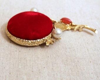 Vintage Red Velvet Flower Pin Cushion on Goldtone Base, Stick Pins, Safety Pins