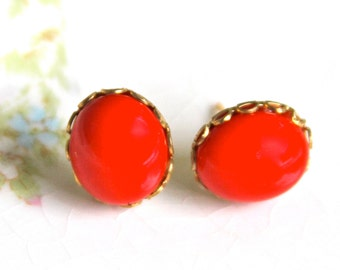 Vintage Red Oval  Glass Scalloped Gold Brass Rhinestone Post Earrings - Wedding, Christmas, Bridesmaid, Bridal
