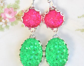 Lime Green Fuchsia Pink Bumpy Textured Oval Round Silver Scalloped Rhinestone Drop Dangle Earrings - Wedding, Christmas, Holiday, Bridesmaid