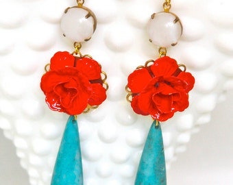 Vintage Cherry Red Flower White Opal Turquoise Teardrop Drop Dangle Statement Earrings - Wedding, Bridal, Bridesmaid,Statement,One of a kind
