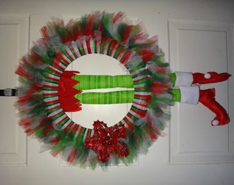 Christmas Tulle Wreath with Red Sparkle Poinsettia (With or without Elf Legs)