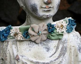Ribbon Work Choker Ribbonwork Flowers Jeweled Rhinestones and Beaded Choker Shades of Blues - Sea Blue-Green, Bohemian Glam