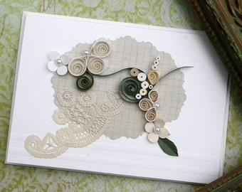 Quilled Card, All Occasion Card, Wedding, Bride, New Baby, Anniversary, Birthday, Garden Lover, Sympathy -  Creams and Green