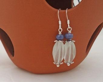 Clear Quartz and Blue Faceted Jade Earrings, Gemstone Earrings, UK Seller