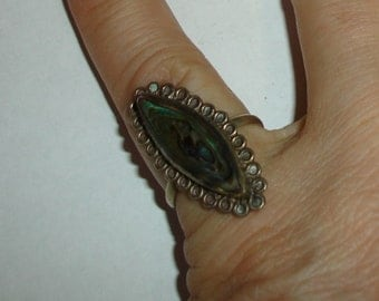 Vintage Mexico Handmade Sterling 925 Abalone Marquise Ring Signed Size 9.5