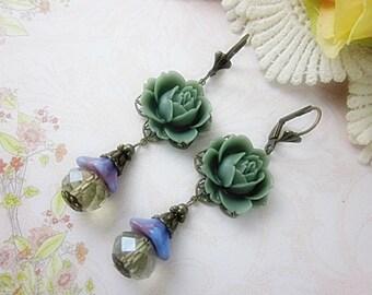 Gray Roses Earrings.  Lovely elegant gift for her.  Birthday.  Anniversary