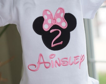 Light Pink Personalized Minnie Mouse Birthday Shirt - ANY NUMBER - Pink or Red - Child - Vacation - Toddler Tee