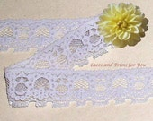 Lavender Lace Trim Stretch 8 Yards Floral 1-1/4 inch wide Lot J64B Added Items Ship No Charge