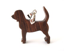 Bloodhound Dog Necklace Wood Scroll Saw Walnut Hand Cut Pendant