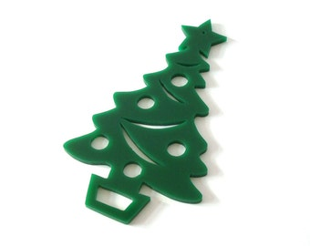 Acrylic Christmas Tree Ornament Holiday Decoration Present Tie On Green Hand Cut Scroll Saw
