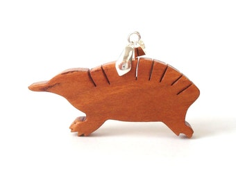 Echidna Necklace Spiny Anteater Scroll Saw Wood Pendant Cherry Hand Cut Scroll Saw