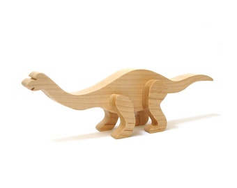 Wood Mamenchisaurus Dinosaur 3d Sculpture, Wooden Sauropod Dinosaur Figurine, Extinct Animal Decoration, Maple