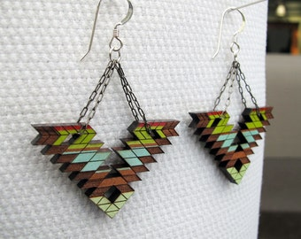 Tribal Earrings, Half-Large, Steens Mountain 2, Cherry Wood