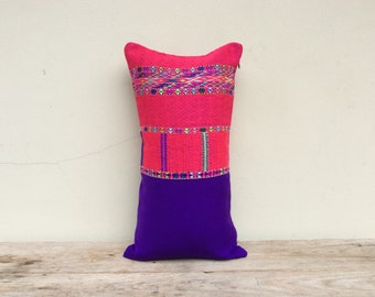 12 x 22 inch Vintage Hand Woven Decorative Pillow Made Of Tradition Ethnic Karen Shirt / Tribal Karen Design