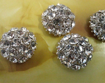 10 pieces  Large  22 mm  Round Full Dome  Clear  Rhinestone Silver Metal Buttons   82A