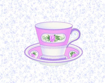 Sausalito Cottage - Teacups in Periwinkle by Holly Holderman for Lakehouse Drygoods