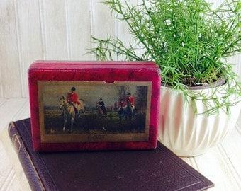 Vintage Red Fox Hunting Scene Box