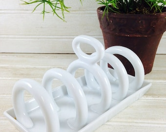 Vintage White China Toast Holder