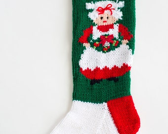 Knit Mrs Claus Christmas Stocking - Personalized