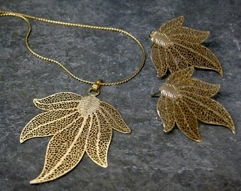 Christmas Women's Gift, Leaf Jewelry Set, Gold Leaf jewelry Set , Bridesmaid Jewelry Set, Bridesmaid Earrings Necklace Set, Wedding Jewelry