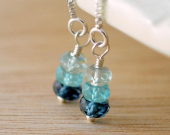 Sterling Silver Threaders, Gemstone Earrings, Aquamarine Apatite London Blue Topaz Jewelry, Gold Filled, Free Shipping