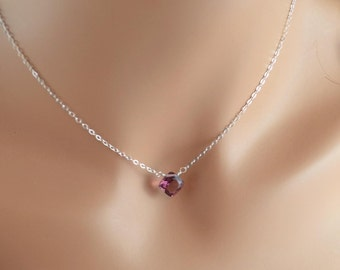 Plum Quartz Necklace, Cushion Cut Kunzite Color Gemstone, Simple Choker, Gold or Sterling Silver Jewelry, Free Shipping