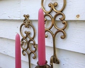 Vintage Pair of Brass Candle Sconces Candle Holders
