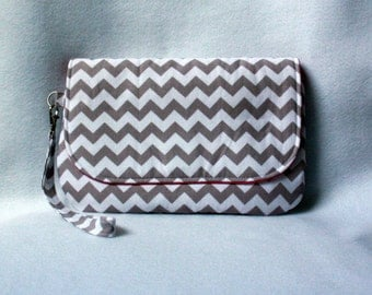 Gray and White Chevron Diaper Clutch with Bright Pink Lining - Gray and Pink Diaper Bag