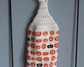 Halloween pumpkin crocheted kitchen dish towel