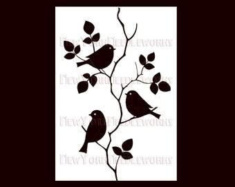 Birds Cross Stitch, Birds Silhouette, Cross Stitch Birds, Birds on Branches, Birds, Silhouettes Cross Stitch from NewYorkNeedleworks on Etsy