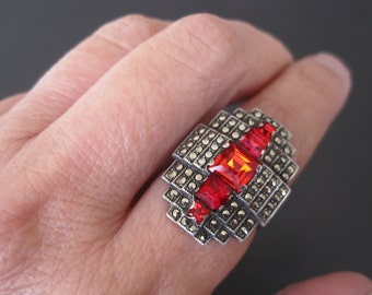 Vintage Sterling Marcasite Ruby Glass Art Deco Ring