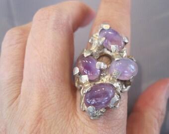 SALE:  Vintage Sterling Amethyst Artisan Ring