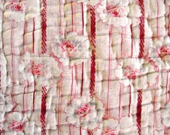 French Antique QUILT boutis ART DECO Roses