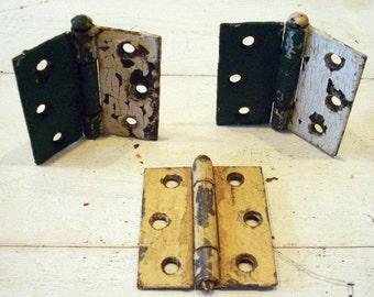 SALE Antique Vintage Metal Industrial Painted Hinges Set of 3