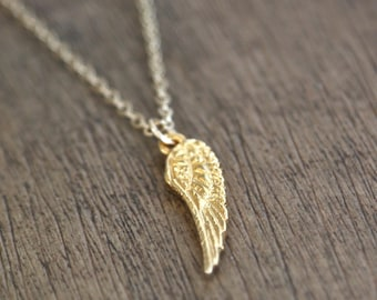 Gold Angel Wing Necklace // Double Angel Wing // simple minimalist jewelry