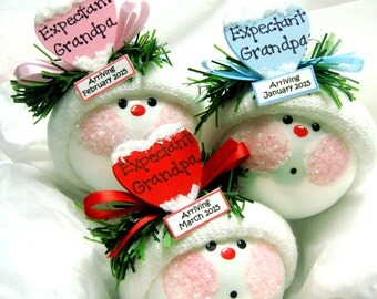 Expectant GRANDPA Christmas Ornaments Gift Color Choice Blue Pink Red Personalized Due Date Tag Sample Hand Painted by Townsend Custom Gifts