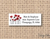 Return Address Labels - Row of Poppies - 120 self-sticking labels